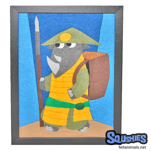 Ashigaru Rhino - Felt Animal Illustration