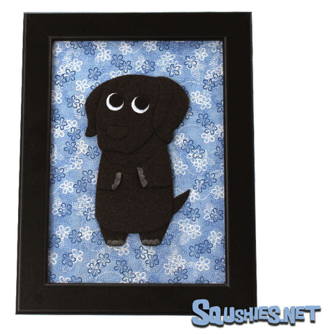 Chocolate Lab - Felt Dog - Framed Wall Art