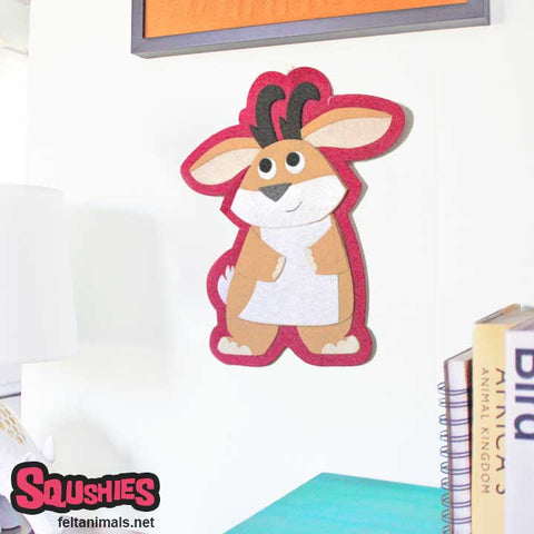 Jackalope Wall Hanging - Felt Animal Nursery Art - The Squshies