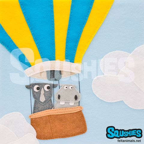 Squshies - Hippo and Rhino Hot Air Balloon Adventure - Felt Animal Print