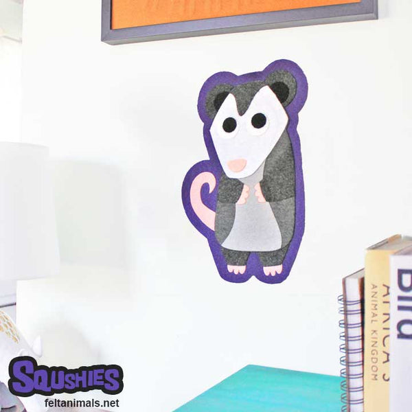 Opposum Felt Wall Hanging - Nursery Decor - The Squshies
