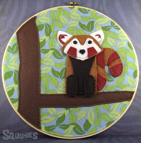 Felt Embroidery Hoop Art – Xelpho the Red Panda
