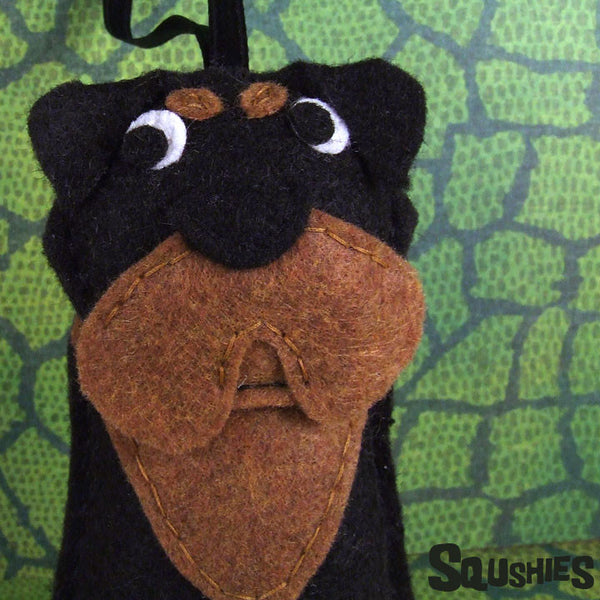 Rottweiler Ornament - Handmade Felt Dog