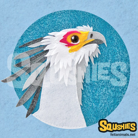 Squshies - Secretary Bird - Art Print