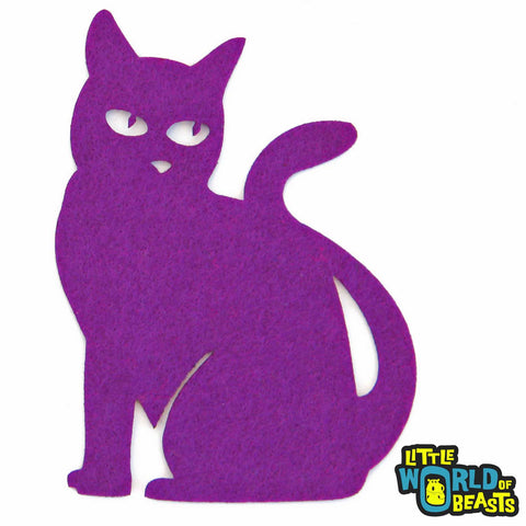 Sitting Cat - Felt Halloween Shape  - Laser Cut - Orchid Purple