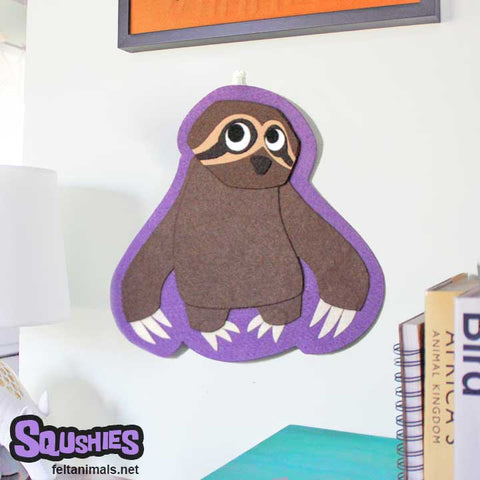 Sloth - Wall Hanging Felt Animal Nursery Art - The Squshies