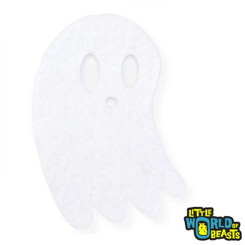 Spoopy Ghost - Felt Halloween Shape - Laser Cut - White