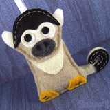 Carmen the Squirrel Monkey - Felt Animal Ornament