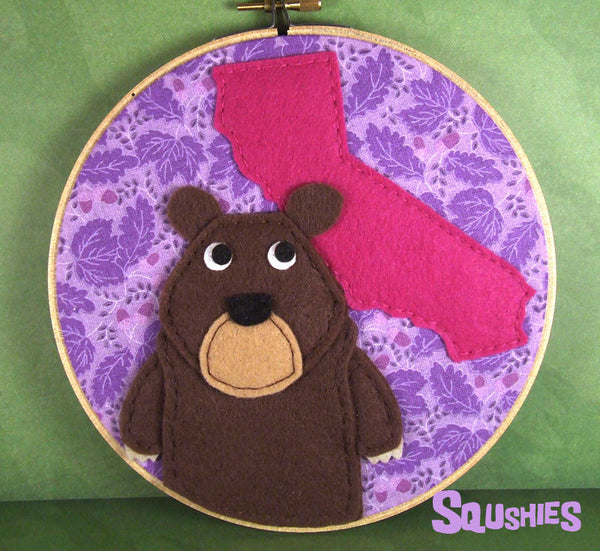 State Animal Hoop Art – California Grizzly Bear