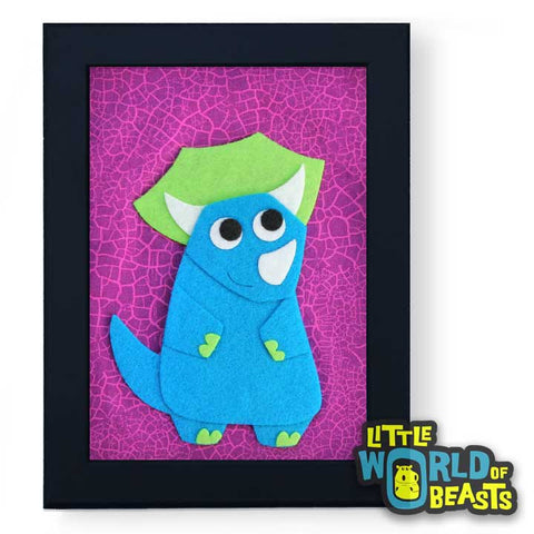 Terence the Triceratops Framed - Dinosaur Nursery Art - Little World of Beasts