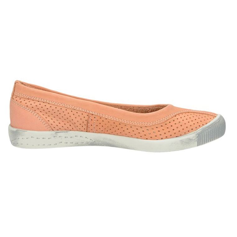 softinos, Iol, salmon shoe, flat shoe, happy feet, memory foam, portugal, casual shoes, comfort shoes, washed leather, soft leather, portugues shoes, ballerina flat, peach