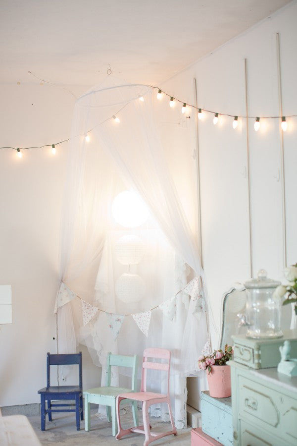 String lights in the nursery weedecor for Pastel diy room decor
