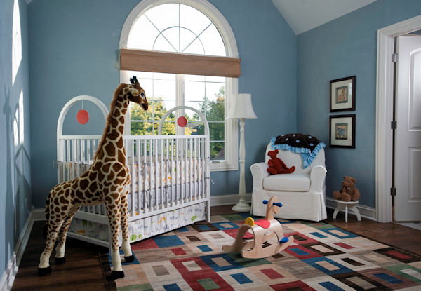 Eco-Friendly Blue Giraffe Nursery. Organic nursery decor.