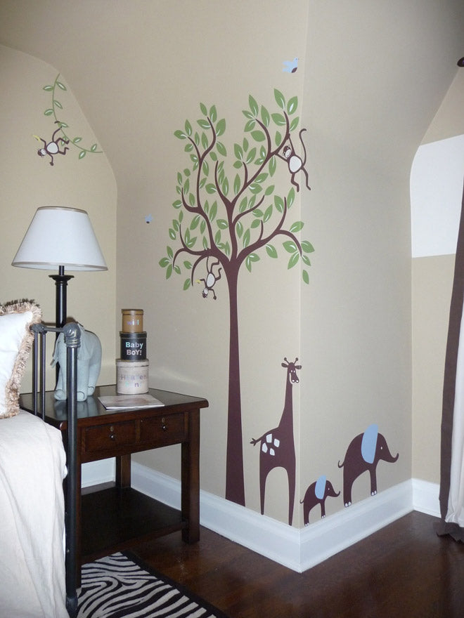 Monkey in Tree Wall Decal with Giraffe and Elephant Wall Sticker by weeDECOR