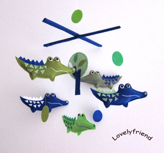 Navy and Green Alligator Baby Mobile