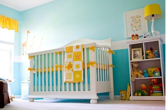 Aqua and Yellow Baby Nursery