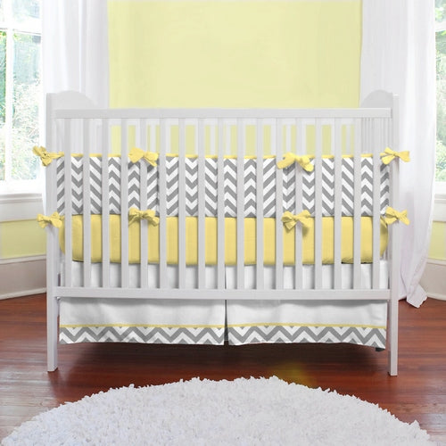 crib bedding.chevron.yellow.grey