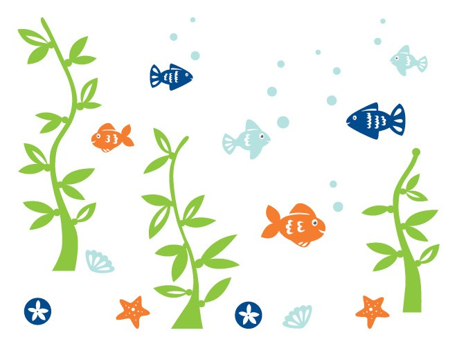 Fish Mural Wall Decals by weeDECOR