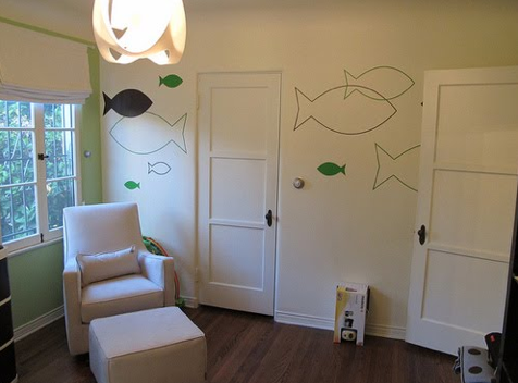 Contemporary Fish Nursery Wall Decor in Green and White