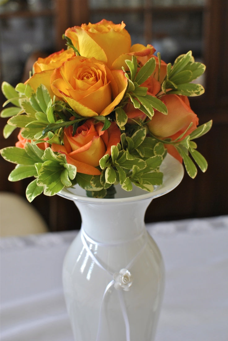 Yellow Roses in a Vintage Porcelain White Vase
