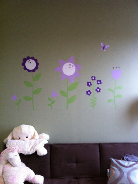 flower wall stickers. flower wall decals. nursery decor. kids rooom decor.
