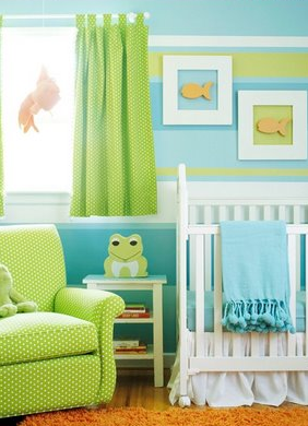 A frog themed nursery with striped paint from StyleDecor