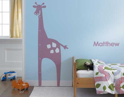 giraffe growth chart for a kids room. animal growth chart for a boys room