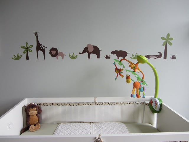 animal themed nursery. jungle wall decals. animal wall decals.