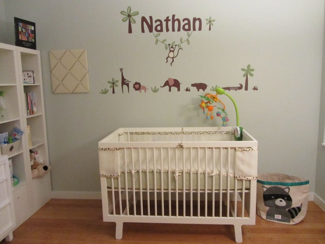 personalized wall decal. monkey wall decal. jungle wall decal