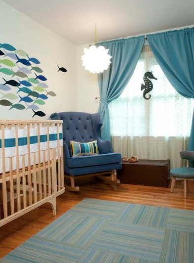 A Modern Fish Themed Nursery in Varying Shades of Blue