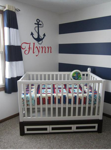 A Blue and White Striped Nautical Themed Nursery