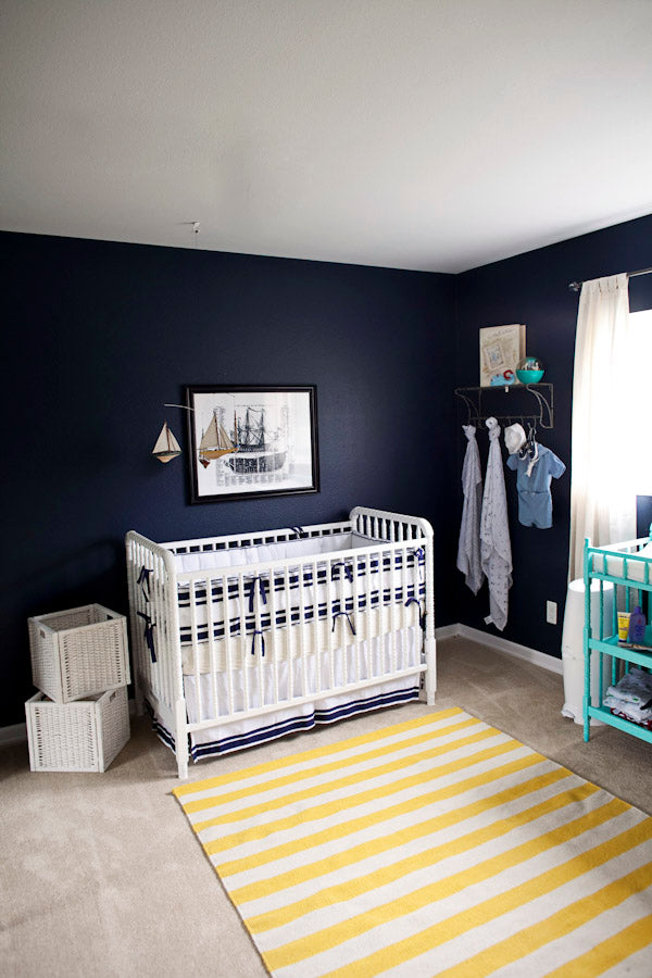 nautical nursery in navy blue with yellow accents by laura. Black Bedroom Furniture Sets. Home Design Ideas