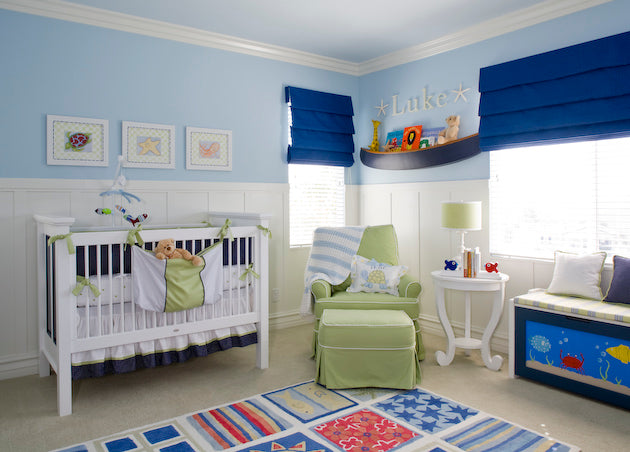 A Nautical Themed Nursery in Pale Blue and Green by Little Crown Interiors