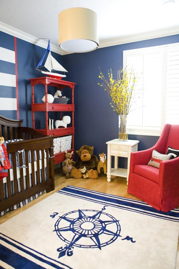 A Nautical Themed Nursery in Navy and Red by HGTV's Erinn Valencich