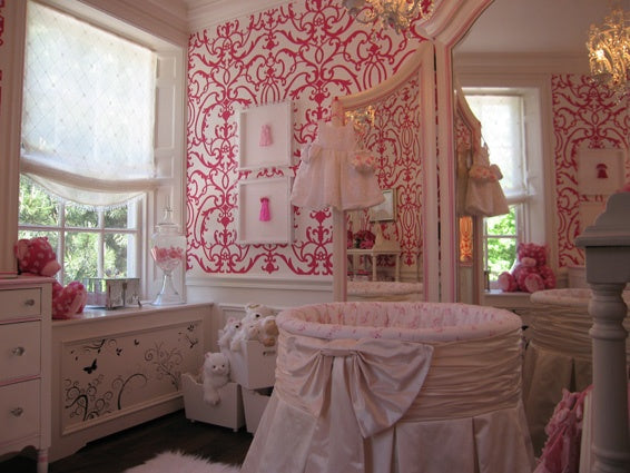 A Pink Damask Nursery and Other Nursery Decorating Ideas from weeDECOR on Pinterest