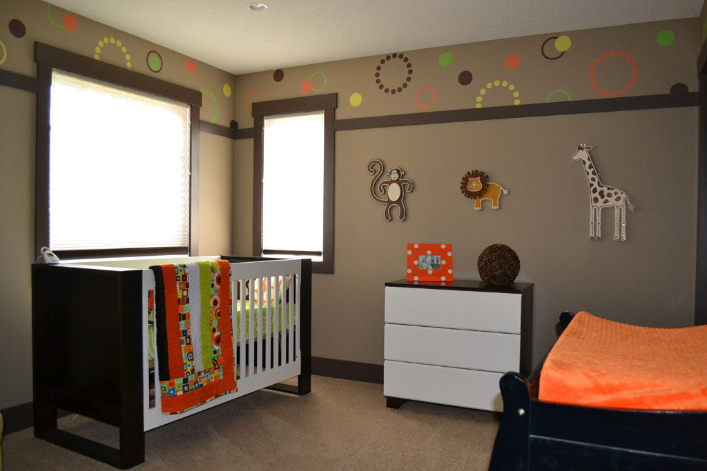 A Modern Nursery with weeDECOR Custom Polka Dot Wall Decals