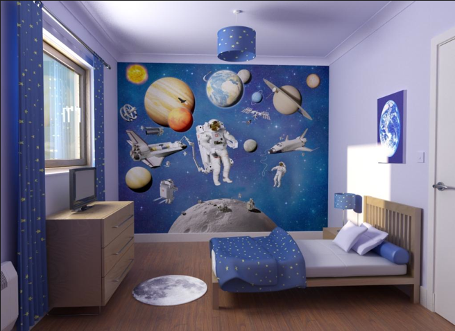 A Modern Take on a Space Themed Kids Room