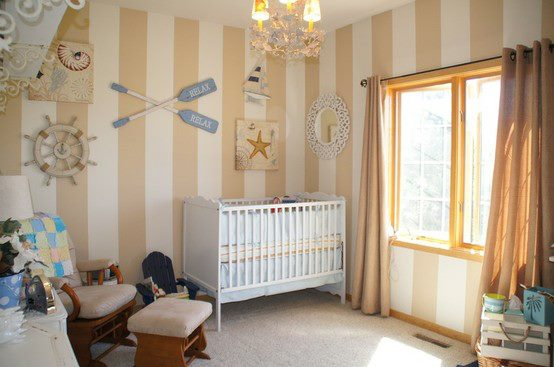 striped walls. nautical. nursery