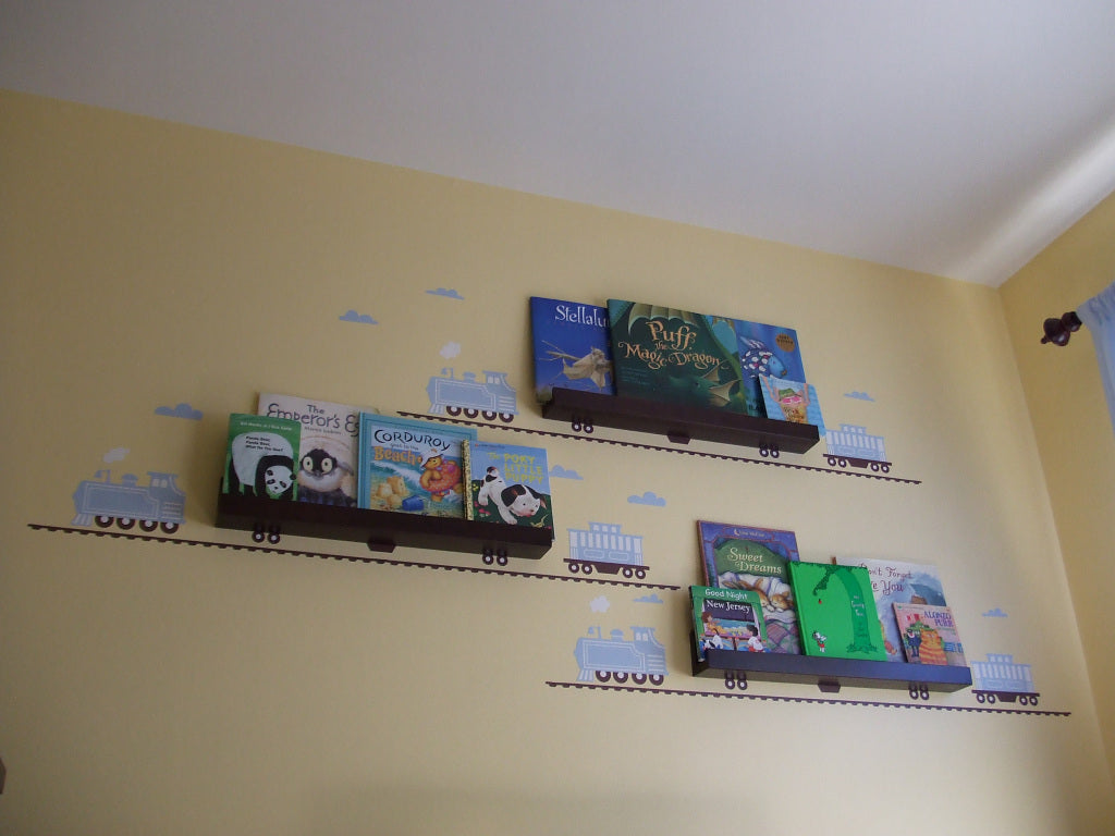 A Train Wall Sticker Bookshelf for a Kid's Room