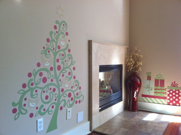 Liamaria Christmas Tree Wall Decoration : Present wall decals weedecor