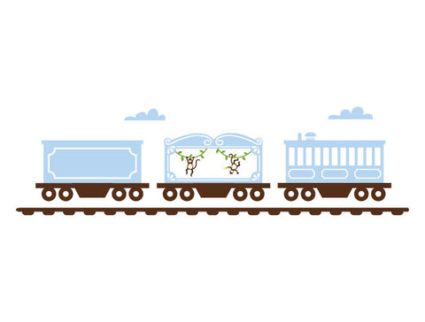 Animal Train Cars Wall Decal