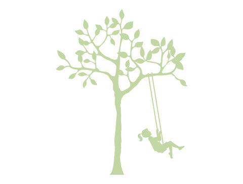 Tree and Girl on Swing Wall Decal