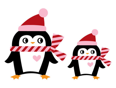 Christmas Penguin Family Wall Decal