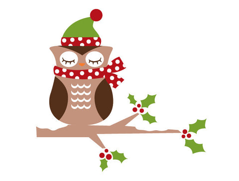 Christmas Owl Wall Decal
