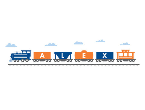 Personalized Modern Train Wall Decal