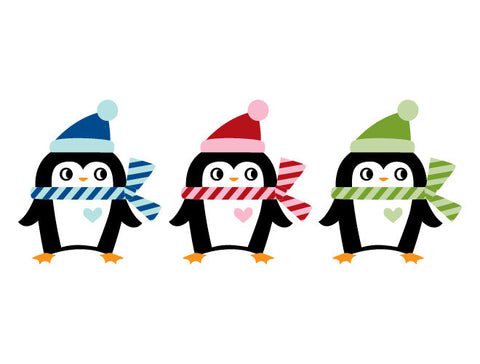 Christmas Penguins Wall Decal