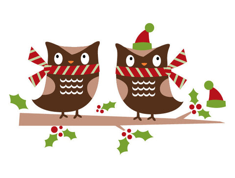 Christmas Owls Wall Decal