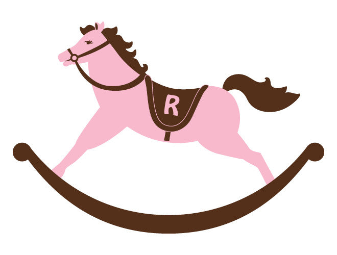 Personalized Rocking Horse Wall Decal - Girl