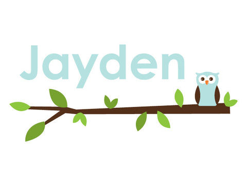 Personalized Solo Owl Wall Decal - Boy