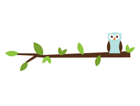 Solo Owl Branch Wall Decal - Boy